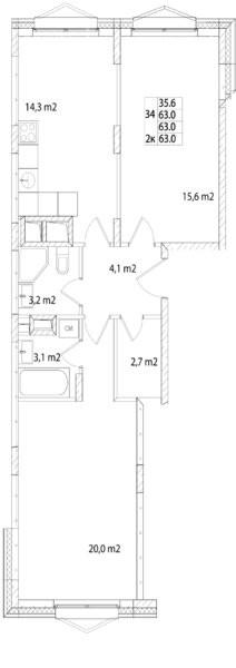 2-комнатная квартира в Город-курорт Май